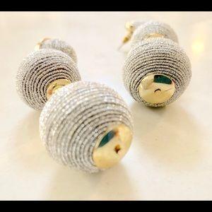 Silver/Gold Dangle Ball Post Earrings
